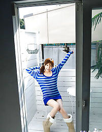 Cruel Japanese coed Rin Sakuragi revealing her miniscule joyous front bumpers