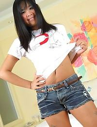 Gorgeous Thai princess Koy takes a phallus in her trimmed love-cage right after delivering a BJ