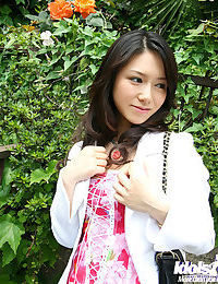 Enormously covered Chinese sweetmeat flashing her valuable jugs and bush outdoor
