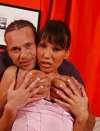 Hot Oriental MILF gal Ava Devine gives titjobs and blowjobs