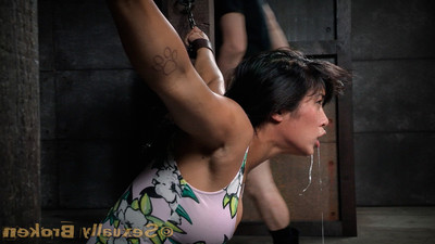 Enormous breasted eastern mia li cums hard, tugging uselessly on her chains. we are not