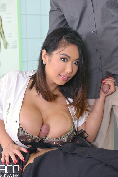 Boobsy Chinese nurse acquires twofold teamed at plow
