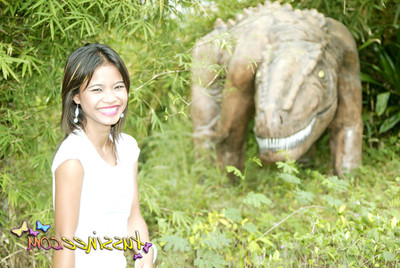 Oriental youthful tussinee activity some public flashing in a dinosaur