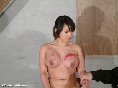 Major breast control and tit lashing of fixed firmly japanese bondage slavegirl koko li