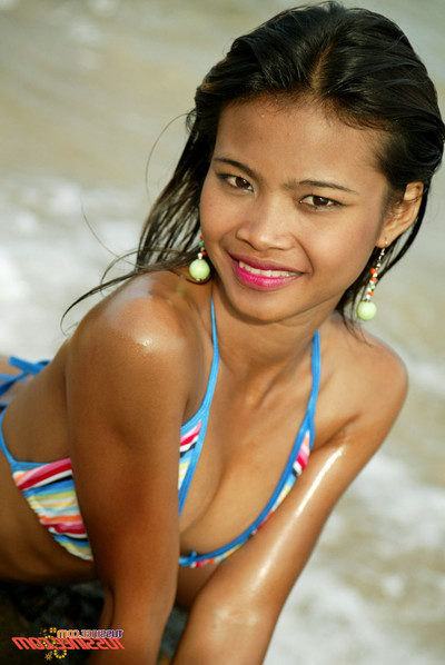 Incredible thai juvenile sample in bikini on the beach