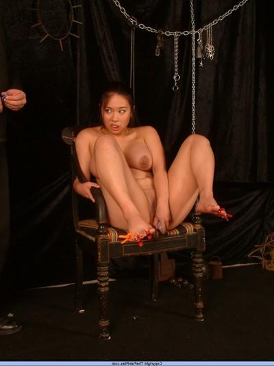 Entered Japanese slavegirl in foot kink and hurt