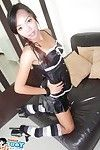 Thai girlfriend gets undressed from her latex outfit