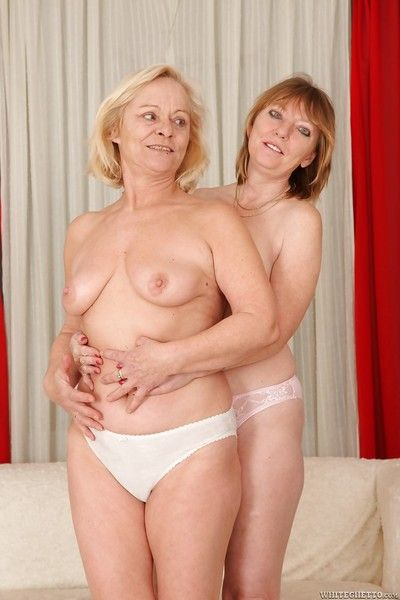 Aromatic grannies Sara D together with Jane C are exhibiting a resemblance their heavy tits!