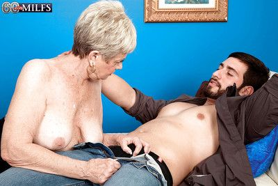 Indecorous granny Lin Boyde gives a handjob together with gets shagged hardcore