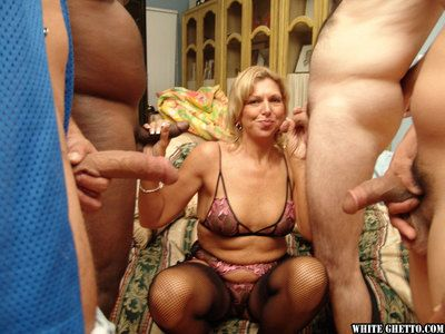 Jizz famished granny on touching stockings has some enjoyment adjacent to two piping hot guys