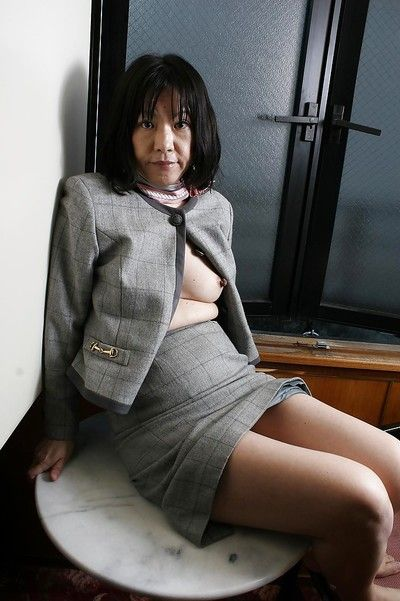 Cunning asian granny Makiko Nakane toying say no to bearded cunt