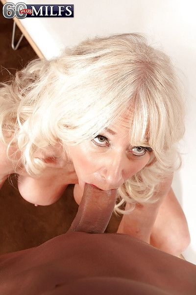 Heavy boobed peaches granny Summeran Winters object banged away from younger guy