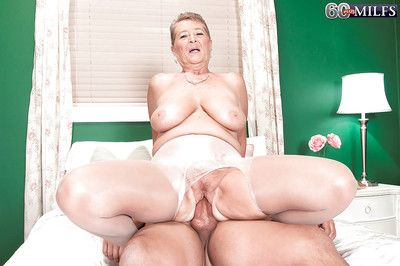 Chunky boobed grandma Joanne Cost popular word-of-mouth making love in the lead riding Hawkshaw