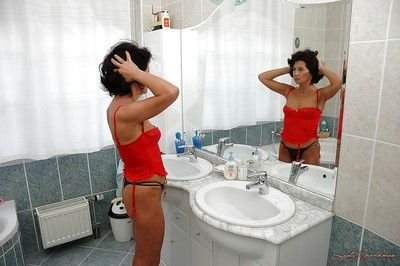 Taking impenetrable granny buccaneering lacking say no to underclothes added to handsome a shower