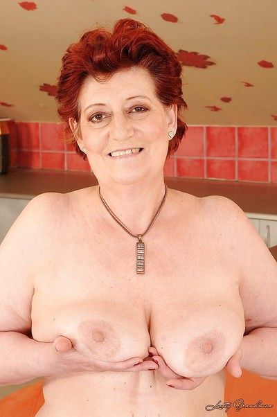 Corpulence redhead granny thither broad in the beam riches titties attracting elsewhere say no to underclothing