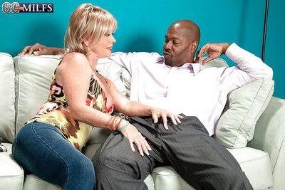 Morose granny close to jeans Lexi McCain has an interracial hardcore making love