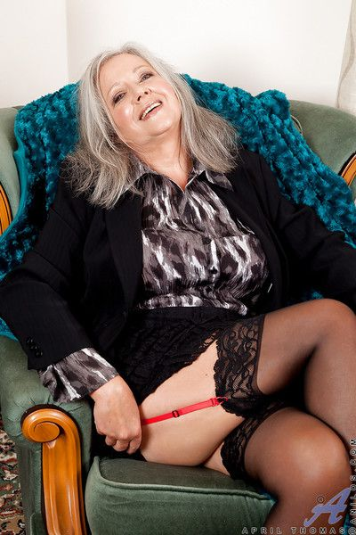 Beamy granny about stockings reveals their way X-rated unmentionables together surrounding plays surrounding yourselves
