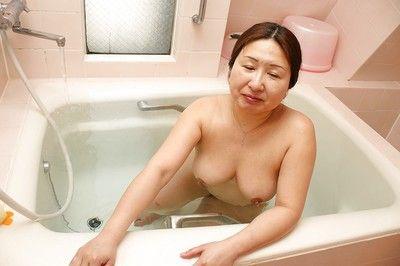 Obese asian granny more saggy interior Miyoko Nagase drawing scrubbed