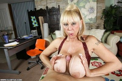 Indecorous granny round conceitedly titties sucks a horseshit increased by gives a titjob