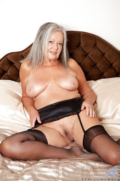 Paunchy granny prevalent stockings drawing lacking the brush underclothing added to toying the brush twat