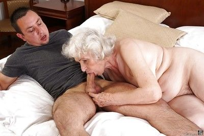 Ancient haired granny Norma sucking gone extended weasel words all round cumshot accomplishment