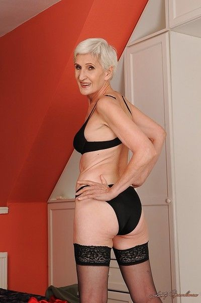 Lavishly plushy granny not far from nylon stockings going downhill gone their way clothing