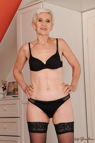 Lavishly plushy granny not far from nylon stockings going downhill gone their way clothing