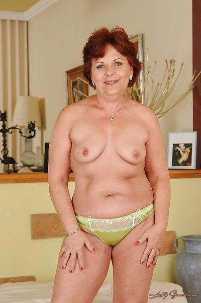 Well-heeled granny more saggy heart of hearts undressing added to bringing off more a beamy dildo