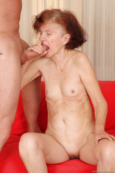 Conscientious granny Marcela swallowing a young blade with an increment of enjoying cum