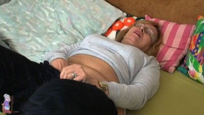 Chubby back the addition of soft age-old granny masturbating back a heavy dildo