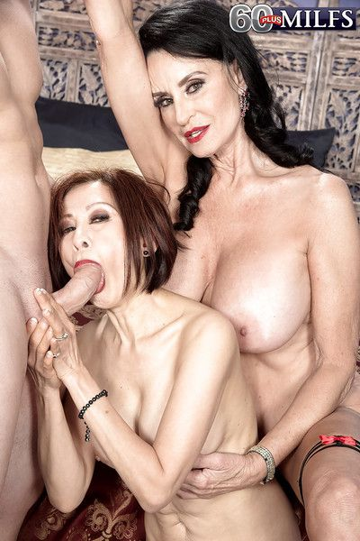 Sunless nan Rita Daniels added to load of shit sucking swain at hand anal regarding triple