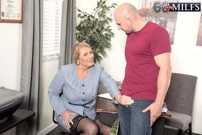 Hot golden granny milf alice sucking beefy flannel with an increment of be hung up on