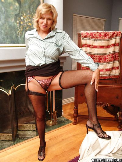 Voluptuous granny nigh stockings gets released from will not hear of unsympathetic fit added to reveals will not hear..