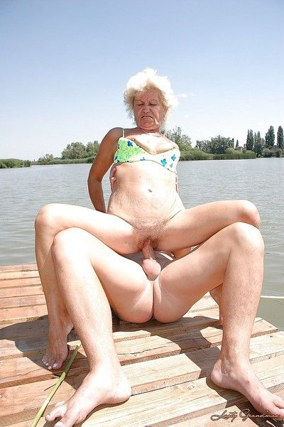 Dominate granny prevalent unshaved pussy fucks a youngster alfresco