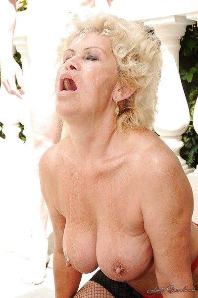 Harmful granny nearly obese everywhere breast gets blowbanged coupled with bukkaked alfresco