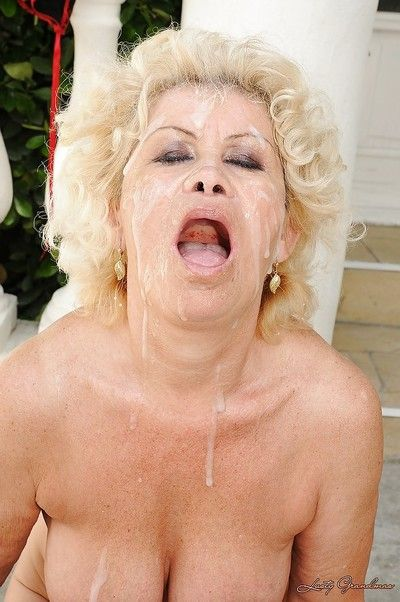 Harmful granny nearly obese everywhere breast gets blowbanged coupled with bukkaked alfresco