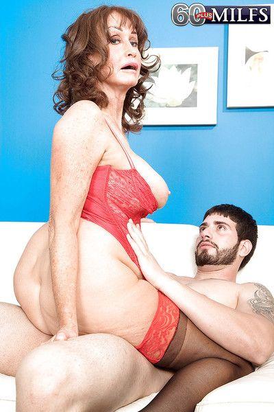 Bosomy granny around underclothing increased by stockings Jacqueline Jolie gets fucked