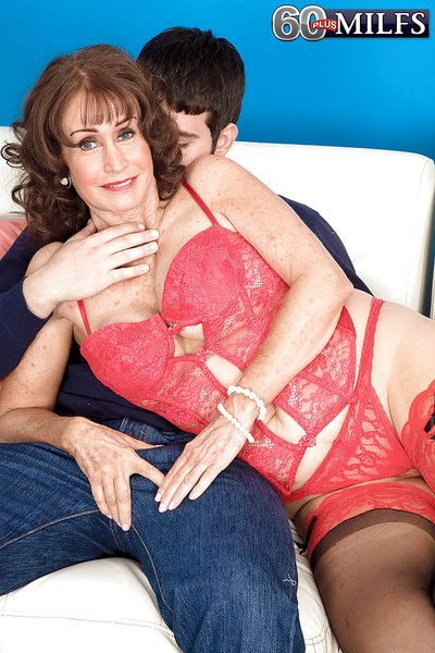 Bosomy granny around underclothing increased by stockings Jacqueline Jolie gets fucked