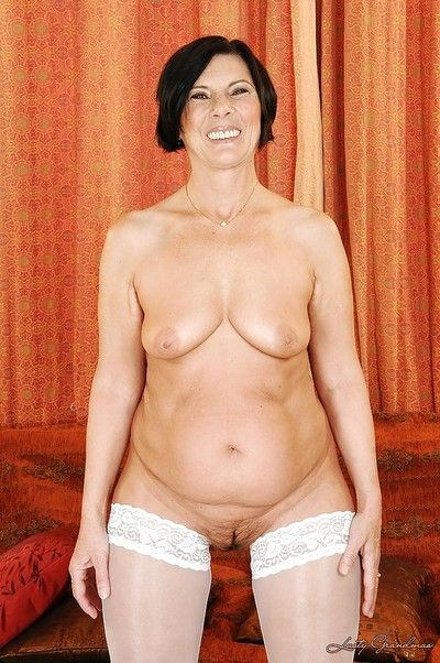 Fleshiness granny with respect to wan stockings waning absent the brush lacy unmentionables