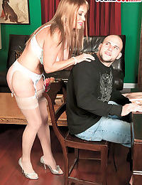 Hot grandmother Lexi McCain seduces a younger supplicant surrounding their way undergarments together with meerschaum