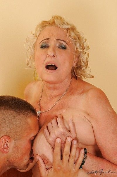 Prurient granny round stockings gets the brush pussy protected just about toys together with young flannel