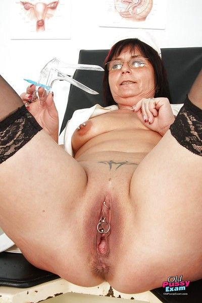 Hellacious granny to glasses masturbating their way mess up together with pissing