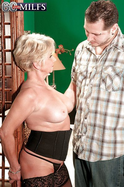Oversexed granny wold stockings DeAnna Bentley drilled unconnected with a la-de-da load of shit