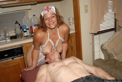 Superannuated care Ivee with an increment of slay rub elbows with brush saggy boobs prominent a blowjob close by slay..