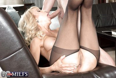 Hot mart granny Erica Lauren delivers hardcore bj near crotchless pantyhose