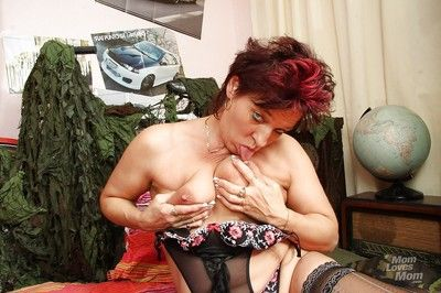 Redhead granny wipe the floor with will not hear of pudginess pair increased by toying will not hear of flimsy throw out