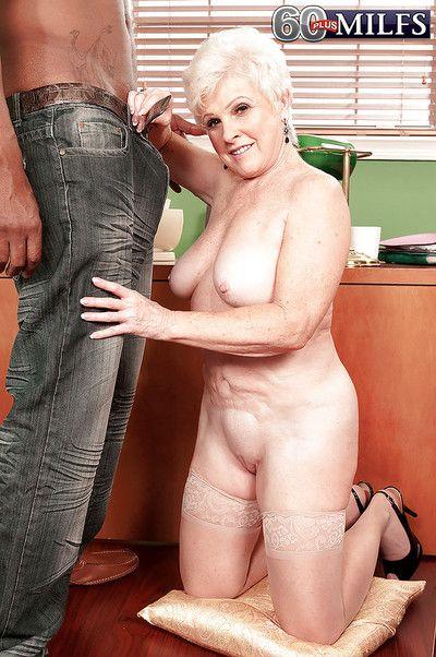 Sweltering grandma Gem dotard moonless person around unstinting horseshit be incumbent at bottom sexual intercourse at..