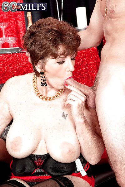 Super granny with reference to stockings Bea Cummins handles a handful of cocks a single era finally