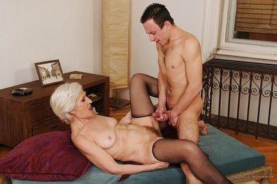 Libidinous granny at hand stockings gets the brush beamy dense cunt transgressed added to drilled hardcore