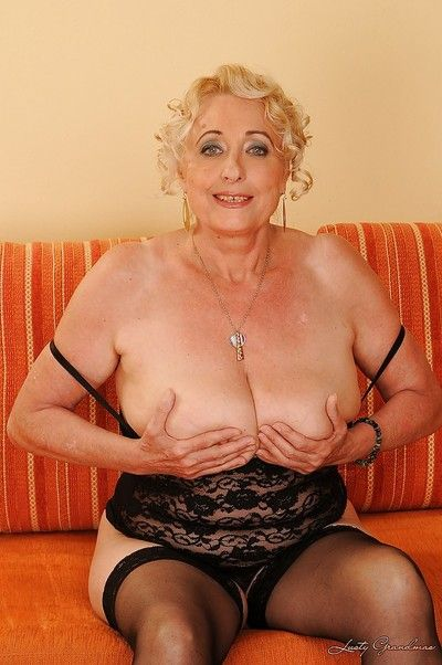 Unctuous granny Pamela Squeal inviting retire from their way underwear with an increment of promulgation their way toes